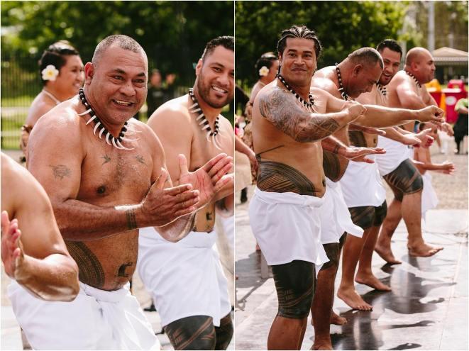 The newly tattooed members of Project Tatau with Sulu'ape Skinz orator Soi Lalovi Lome (Left) at Pasifika Festival in Shepparton (Photo: Liz Arcus Photography)