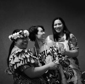 Pasefika Vitoria singers Lavinia Enosa, Jade Blair and Delsa Tuitea during the Swampland Magazine photoshoot. (Photo: Leah Jing)