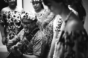 Jamming during our photoshoot with photographer and writer Leah Jing - who wrote a feature piece on Pasefika Vitoria Choir in the latest Swampland Magazine (Issue No.5) (Photo: Leah Jing)