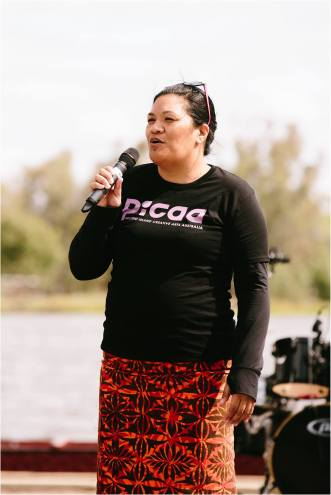 Director of PICAA, Rita Seumanutafa, addressing the crowd at Pasefika Festival in Shepparton Victoria - explaining the work of PICAA within the arts community of Australia.